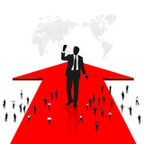 Business people. Businessman is standing on the red arrow Royalty Free Stock Photography