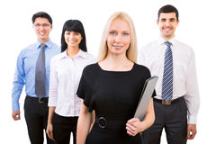 Business people with businesswoman leader Royalty Free Stock Photos