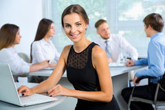 Business people with businesswoman leader Stock Photos