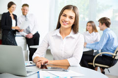 Business people with businesswoman leader Royalty Free Stock Photo