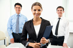 Business people with businesswoman leader Stock Photo
