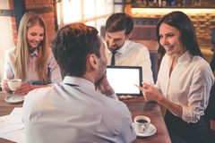 Business people in cafe Royalty Free Stock Photo