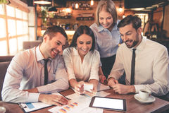 Business people in cafe Royalty Free Stock Photos