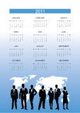 Business people calendar. Business people on a world background calendar vector illustration