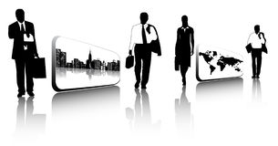 Business people and cards Royalty Free Stock Images