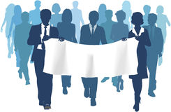 Business people carry banner copy space forward Stock Photo
