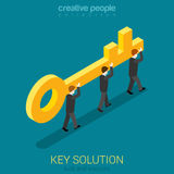 Business people carry golden key. Solution concept. Stock Photos