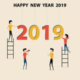 Business people cartoon character & Happy New Year 2019 concept. Happy New Year 2019.2019 Happy New Year greeting card.Vector Illustration.Vector illustration stock illustration