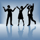 Business people celebrate on gradient background. A team of 3 business people, 2 men 1 woman, celebrate a worldwide win. Gradient background is solid blue at the Stock Image