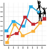 Business People Celebrate Success on Chart. Male & female business people celebrate on a financial chart to growth, profit, and success Stock Image