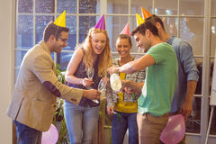 Business people celebrating a birthday Stock Image