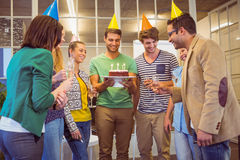 Business people celebrating a birthday Royalty Free Stock Image