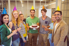 Business people celebrating a birthday Stock Images
