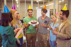 Business people celebrating a birthday Royalty Free Stock Photo