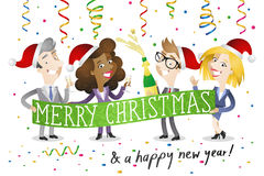 Business people celebrating christmas. Vector illustration of a group of cartoon business people with santa hats and champagne celebrating christmas and new Stock Photography
