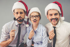 Business people celebrating Christmas stock photography