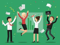 Business people celebrating success from big deal vector illustration