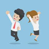 Business People Celebrating Their Success by Jumping Stock Images