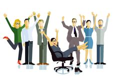 Business people celebrating victory. An illustration of a team of business people celebrating a victory Stock Images
