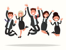 Business people celebrating a victory jump on a white background. Vector illustration of a flat design Royalty Free Stock Images