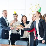 Business team celebrating victory stock photos
