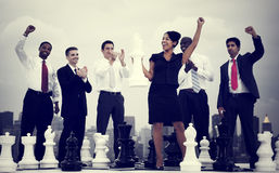 Business People Celebration Winning Chess Game Concept.  Stock Images