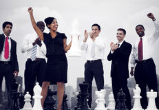 Business People Celebration Winning Chess Game Concept Royalty Free Stock Image