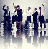 Business People Celebration Winning Chess Game Concept.  Stock Photos