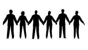 Business people chain. Business people silhouettes which were joined hands Stock Photos