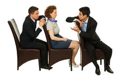 Business people on chairs having conversation Royalty Free Stock Photo