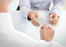 Business people changing business cards Stock Photo