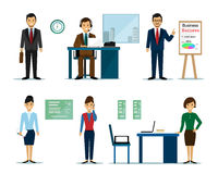 Business people characters: businessmen and businesswomen in the office. Flat style. Royalty Free Stock Photos