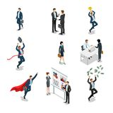 Business people characters work flat isometric vec. Business people characters work process flat 3d isometry isometric web infographics  icons illustration set Royalty Free Stock Photography