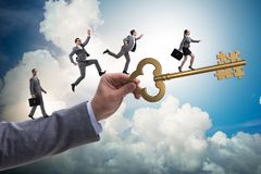 The business people chasing each other towards key to success Royalty Free Stock Photos