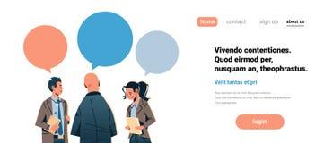 Business people chat bubble communication concept businessman woman speech relationship teamwork process male female. Cartoon character portrait horizontal copy royalty free illustration