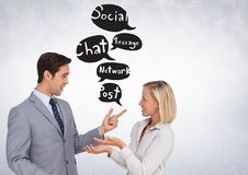 Business people chatting with chat bubbles social media graphic drawings Stock Image