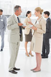 Business people chatting and having coffee at a conference Stock Image