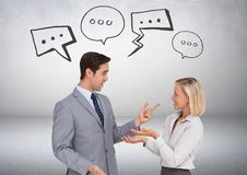 Business people chatting with speech bubble graphics drawings Royalty Free Stock Images