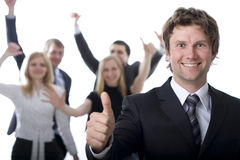 Business people cheer for success. Happy business people on white bacground royalty free stock image