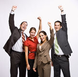 Business people cheering. Team of business people cheering Royalty Free Stock Photography