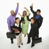 Business people cheering royalty free stock image
