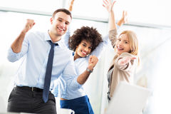 Business people cheering Royalty Free Stock Photos