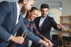 Business people cheering with hands together. Business young people cheering with hands together Stock Photo