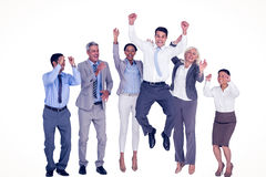 Business people cheering in office Stock Photo