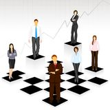 Business People on Chess Board Royalty Free Stock Images