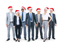 Business People in Christmas hats royalty free stock photos