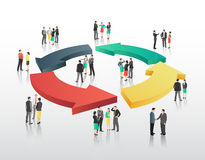 Business people with circle of arrows Stock Photos