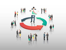 Business people with circle of arrows Stock Photo