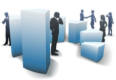Business people in circular bar graph shapes Stock Image