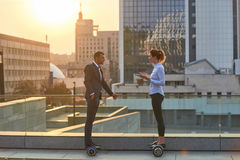 Business people on city background. stock image